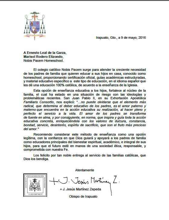 Carta del Obispo a Nobis Pacem
